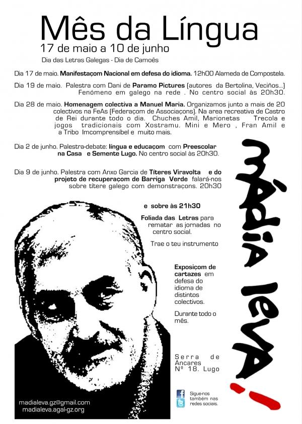 """Centro Social Mádia Leva inicia neste 17 de maio o seu """"Mês da Língua"""" em Lugo"""