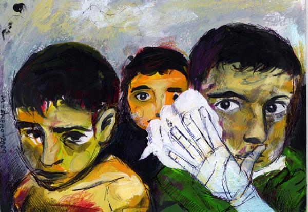 ORIGINAL PHOTO: Ashraf Amra, Palestinian children wounded by an Israeli rocket strike on Beit Hanoun, January 1, 2009 IMAGE ALTERATION: /anomalousnyc PAINTING: Mataparda