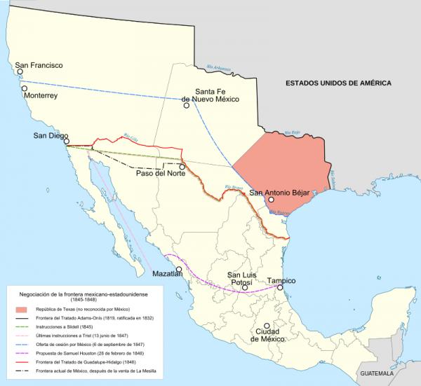 Fronteira atual entre México e EUA (linha vermelha) e o território mexicano antes de 1848 (em branco)
